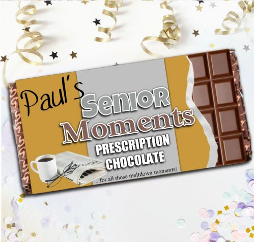 Personalised 110g Milk Chocolate Bar - Senior Moments Joke Gift N75